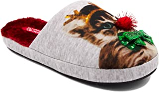 Ugly Christmas Slippers Womens Cozy Furry Slip On Slipper - Christmas Cat, Santa, Elf Bells Winter Slippers