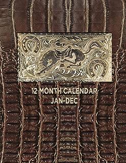 12 MONTH CALENDAR JAN - DEC: 8.5x11 one year 12 month calendar planner organizer : antique belt buckle : horse cowboy cowgirl