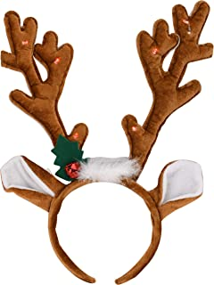 EDS Costumes Christmas Flashing Red Light Up Reindeer Antlers Headband Ugly Sweater Party Supplies