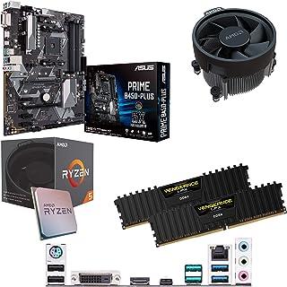Components4All AMD Ryzen 5 1500 X 3,6 GHz (Turbo 3,7 GHz) fyrkärnig åtta gänga CPU, ASUS PriME B450-Plus moderkort & 8 GB ...