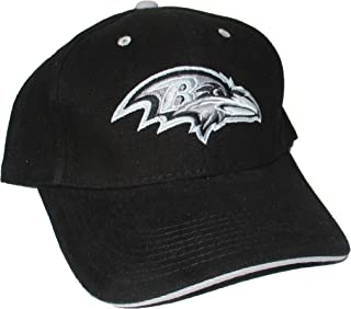 NFL Team Apparel Baltimore Ravens Adjustable One Size Fits Most Hat Cap - Black with Gray Logo