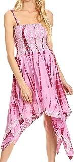 Sakkas Endea Tie Dye Smocked Bodice Hi-Low Handkerchief Hem Dress