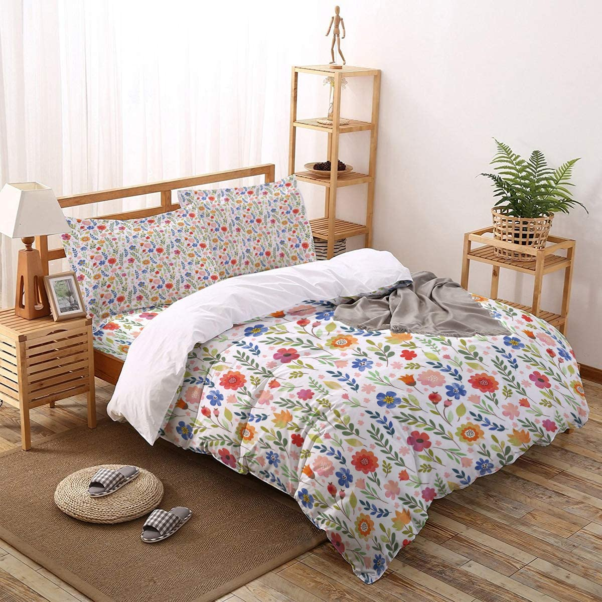 Fangship 4 Pieces Duvet Direct stock discount Cover Bargain Bedding Cute Spring Girl Set Style