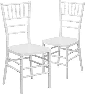 Flash Furniture 2 Pk. HERCULES PREMIUM Series White Resin Stacking Chiavari Chair