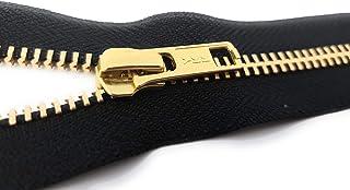 Unbekannt YKK nicht teilbarer Reißverschluss aus Metall in Gold mit Zipper Schwarz 14 cm