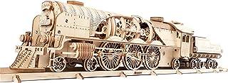 UGEARS Train en Bois Model 3D - Locomotive, Tender, Chemin de Fer - Puzzle A Encastrement Adulte, Miniature Mécanique, à C...