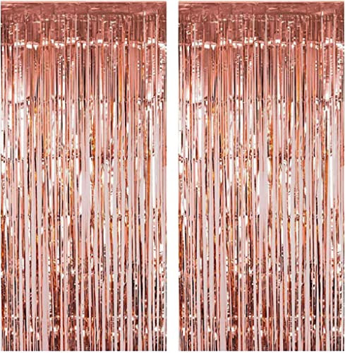Fecedy 2pcs 3ft x 8.3ft Rose Gold Metallic Tinsel Foil Fringe Curtains Photo Booth Props for Birthday Wedding Engagem...