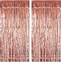 Fecedy 2pcs 3ft x 8.3ft Rose Gold Metallic Tinsel Foil Fringe Curtains Photo Booth Props for Birthday Wedding Engagement B...