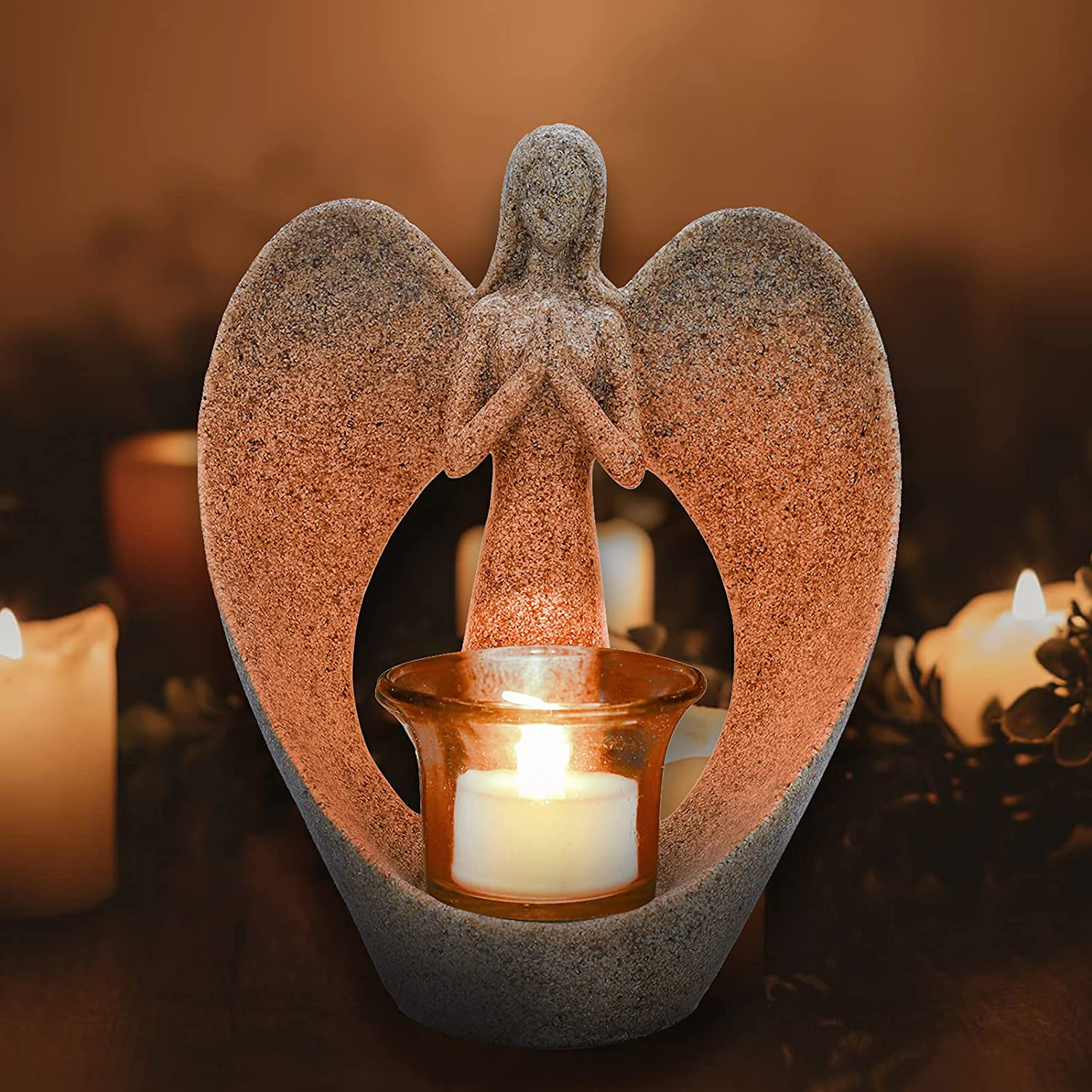 Memorial Max 56% OFF Gifts Angel Statue Tealight Gif Candle Max 66% OFF Holder Sympathy