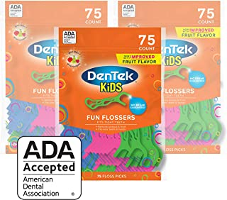DenTek Kids Fun Flossers,Removes Food & Plaque, 75 Count, Pack of 3