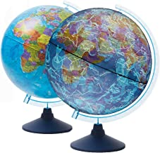 Exerz Globo terráqueo Iluminado 21cm con Iluminación LED Sin Cables Día Y Noche - Mapa de Ingles - Mapa Político/Estrellas De Constelación