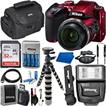 $269 Get Nikon COOLPIX B500 Digital Camera with Essential Accessory Bundle – Includes: SanDisk Ultra 32GB SDHC Memory Card, Rechargeable Batteries (8-AA) & Dock Charger, Digital Slave Flash & Much More (Red)
