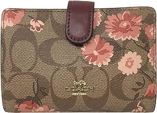Coach Signature Medium Corner Zip Wallet in a Prairie Daisy Print Khaki Coral F78699