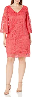 Julian Taylor womens Full Figured All Over Lace A-line V-neck Dress Dress