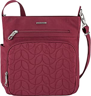 Anti-Theft Quilted North South Bag - Medium Nylon Crossbody for Travel & Everyday - (Ruby/Dusty Rose Interior)