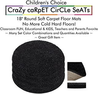 """Set 4 - Tuxedo Kids Crazy Carpet Circle Seats 18"""" Round Soft Warm Floor Mat - Cushions   Classroom, Story Time, Group Activity, Time-Out Spot Marker and Fun. Home Bedroom & Play Areas"""