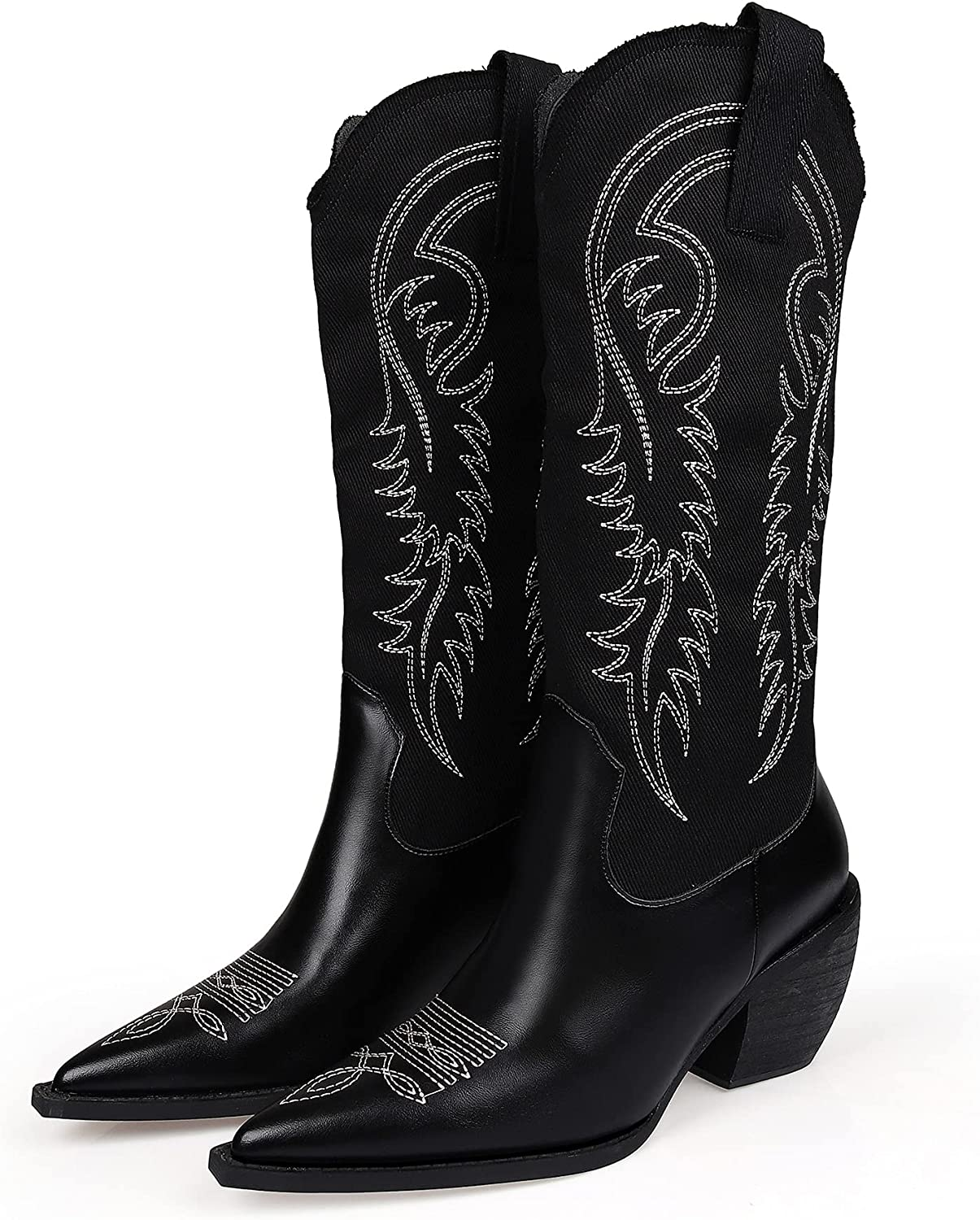 MissHeel Cowboy Boots for Women Embroidered Canvas Cowgirl Knee High Western Boots Pull-On