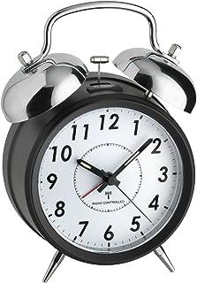 TFA Dostmann Nostalgi trådlös väckarklocka, dubbel klocka i metall, 60.1503, med bakgrundsbelysning, lätt att läsa, flerfä...