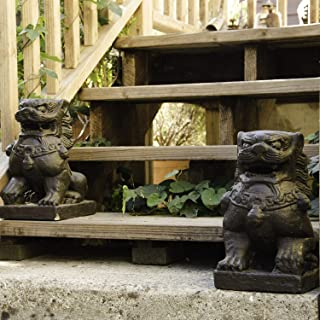 MISC Brown Fu Dogs Statue Antique Handmade Guardian Lions Sculptures Abstract Weather Resistant Traditional Set of 2, Crushed Basalt Stone Cement