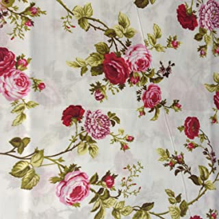 Floral Rose Red Poly Cotton 60 Inch Fabric By the Yard (F.E.)