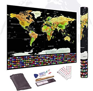 Scratch Off The World Map, 33 x 24 Inches – Deluxe Glossy Travel Poster with All Country Flags, States, Cities – Scratcher and other accessories Included, Tube Packaging, Perfect Gift for Travelers