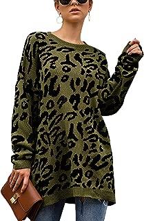 Women's Oversized Leopard Print Sweater Long Sleeve...