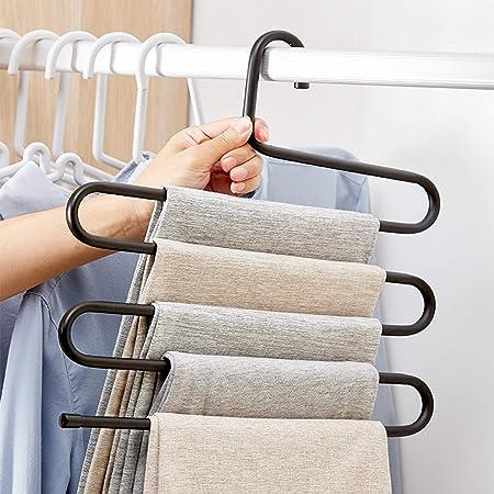 S-Type Pants Trouser Hanger 5 Layers Multi Storage Rack Closet Space Saver