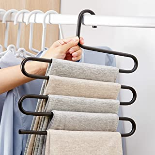 Pants Hanger Multi-Layer S-Style Jeans Trouser Hanger Closet Stainless Steel Rack Space..