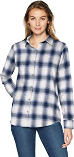 Women's Classic-Fit Long-Sleeve Lightweight Plaid Flannel...