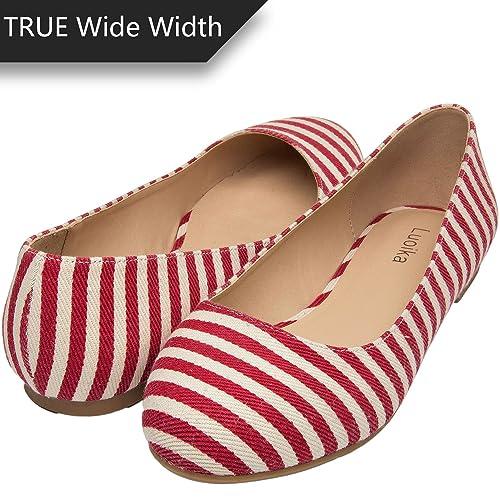 47e023ba6183 Luoika Women's Wide Width Flat Shoes - Comfortable Slip On Round Toe Ballet  Flats.