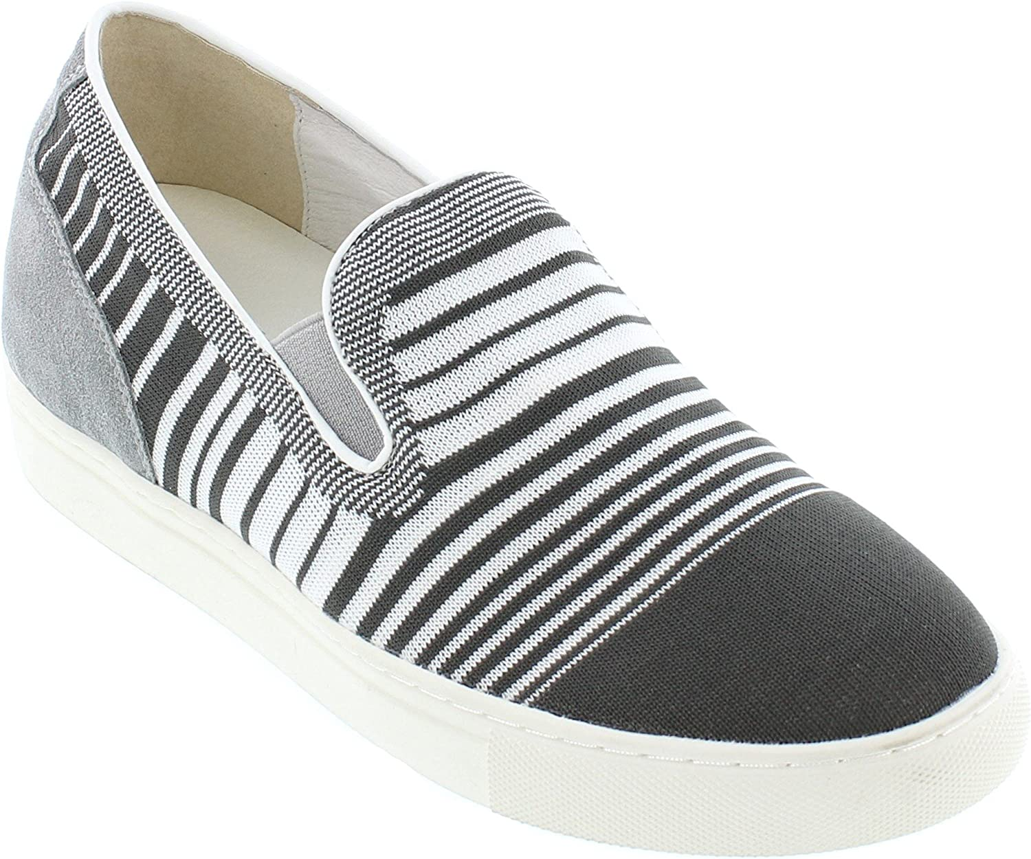 CALTO Men's Invisible Height Increasing Elevator Trainer shoes - Grey Knitted Slip-on Lightweight Fashion Sneakers - 2.4 Inches Taller - H55063