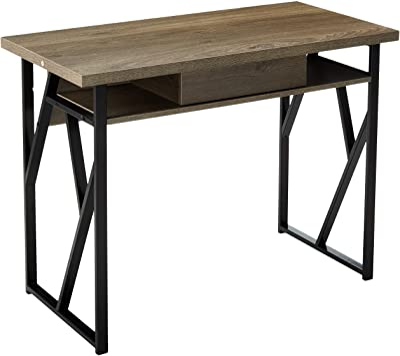 Christopher Knight Home Janet Modern Faux Wood Writing Desk, Dark Gray, Black