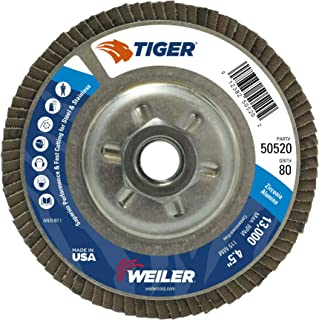 4-1//2-Inch 80-Grit Forney 71987 Flap Disc Type 29 Blue Zirconia with 7//8-Inch Arbor