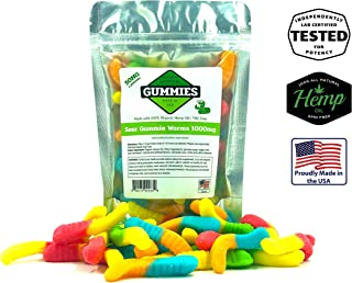 20ct Premium Hemp Gummies, Sour Gummy Worms - 50mg per Gummy Worm (1000mg per Bag)- Organic Hemp - 0% THC - Relief for Stress, Pain, Inflammation, Anxiety, Depression, Nausea, Omega 3,6,9 and More
