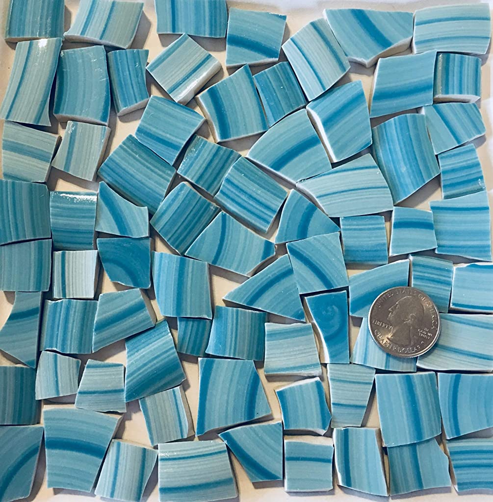 Mosaic Art & Crafts Supply ~ Turquoise Blue Brushstroke Tiles (B301)