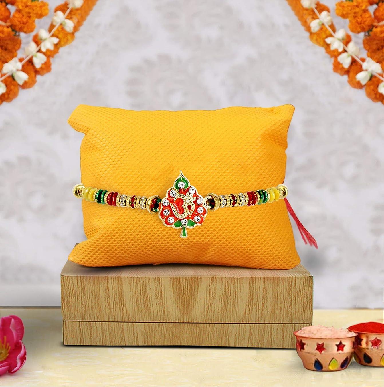 TIED RIBBONS Ethnic Rakhi Thread for Brother Designer Rakhi for Bhai on Rakshabandhan with Rakshabandhan Special Card