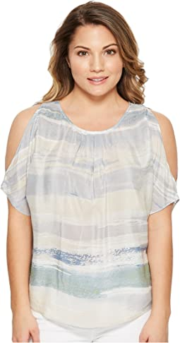 Petite Watercolor Cold Shoulder Top