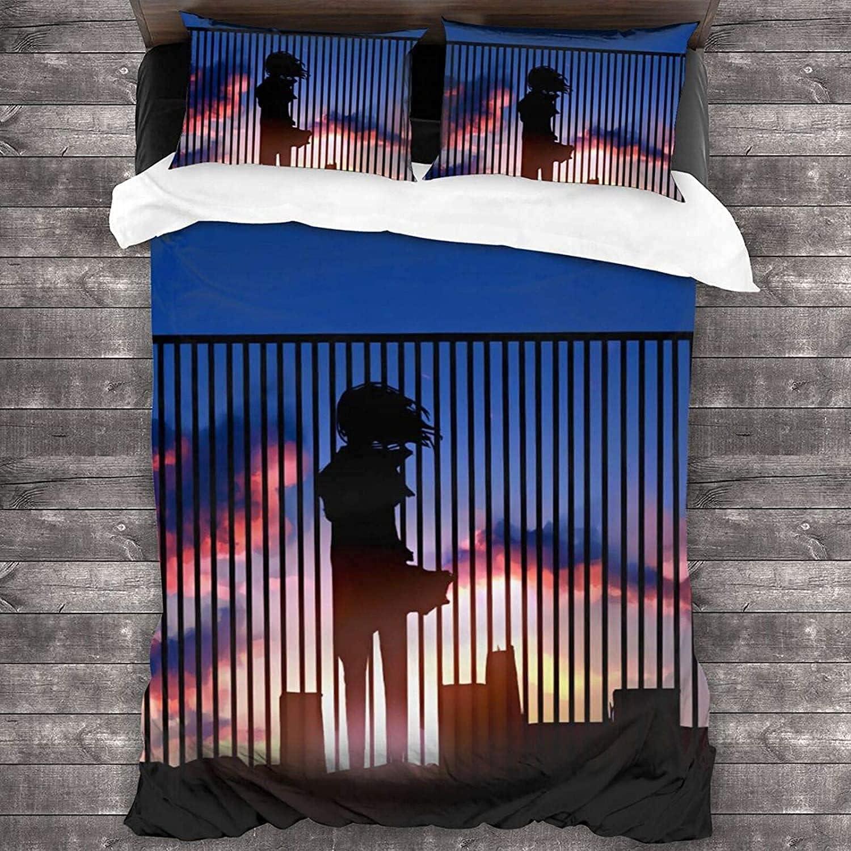 HMSMGS Funda de edredón de microfibra (funda de edredón y dos fundas de almohada), imágenes de impresión 3D que hacen que el dormitorio sea brillante y animado (155 x 220 cm + 50 x 75 cm x 2).