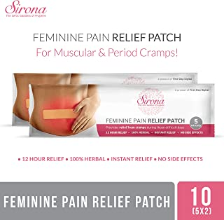 Sirona Instant Period Cramps Relief | Menstrual Cramps, Period Pain Relief Patches With Herbal Ingredient, No Side Effect - 10 Patches (2 Pack - 5 Patches Each)
