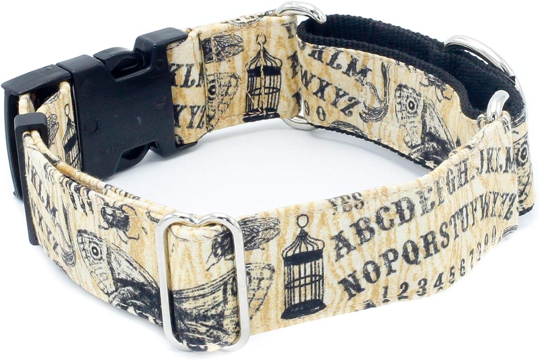 Ouija Dog Collar 1   2  Width Buckle & Martingale Halloween Spooky Dog Collar (Martingale w Buckle Collar, XXL  1.5  Width)