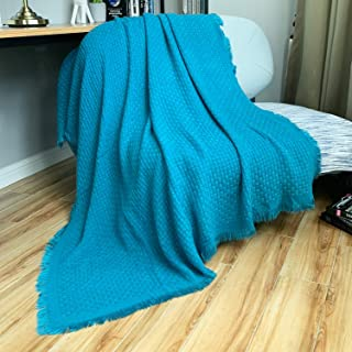 DISSA Knitted Blanket Textured Solid Super Soft Decorative Throw Blanket Cozy Plush Lightweight Fluffy Woven Blanket for Bed Sofa Couch Cover Living Bed Room (Teal, 51x63)