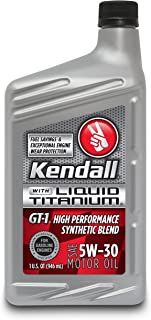 Kendall (1057254-12PK) GT-1 High Performance Synthetic Blend SAE 5W-30 Motor Oil with Liquid Titanium - 1 Quart, (Case of 12)