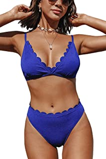 CUPSHE Women's Scalloped Swimsuits Sexy 2 Piece Bikini Bathing Suits with Mid Waisted Bottom