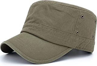 Rayna Fashion Soft Cotton Lining Cadet Army Hats Military Style Flat Top Dad Sun Caps
