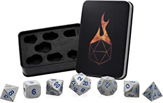 Forged Dice Co. Metal Dice Set - Polyhedral Dice Set with Dice Storage Tin and Stickers - Metal DND Dice and Gaming Dice for Dungeons and Dragons RPG Games