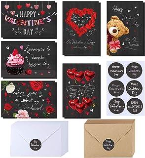 120 Sets Valentine's Day Cards with Envelopes Stickers Assortment Bulk 6 Designs of Blank Vintage Heart Bear Rose Chalkboa...