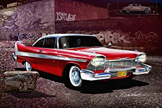 1958 PLYMOUTH FURY - CHRISTINE - ARNIE'S REVENGE - OFFICIAL DANNY WHITFIELD ART SIZE 30 X 40