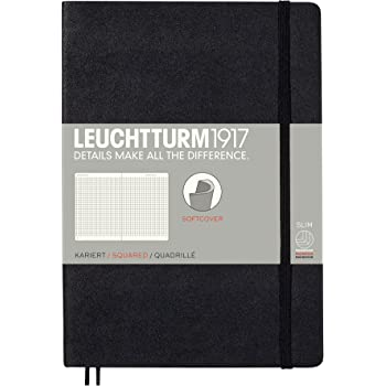 Leuchtturm1917 Medium A5 Softcover Squared Notebook- 121 Numbered Pages, Black