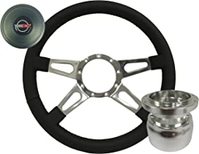 Volante S9 Leather Slotted Quad Spoke Steering Wheel Kit compatible with 1984-1989 Chevrolet C4 Corvette