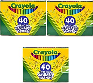 Crayola Ultra-Clean Fine Line Markers Washable 40 Count (Set of 3) Bundle with Box of Neon Crayons